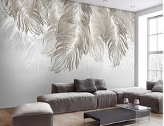 Custom Wall Mural Wallpaper Modern Abstract Hand Painted Big Feathers Wall Mural Living Room or Dinning Room Wall Painting Cool Wallpapers For Bedroom, Wallpaper Design For Bedroom, Custom Wallpaper, Of Wallpaper, Room Wall Painting, Custom Wall Murals, Cleaning Walls, Smooth Walls, Lugano