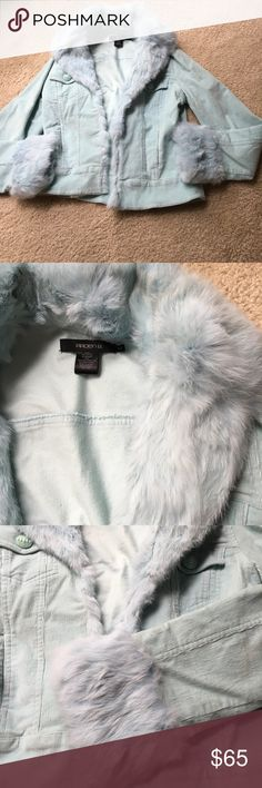 Light Blue Fur Trimmed Jacket Arden B Blue Moto Style jacket with hidden hook closures.  Real Rabbit fur trim neck down the front and wrists.  Color is stunning!!   Never worn!!  Size XS Arden B Jackets & Coats