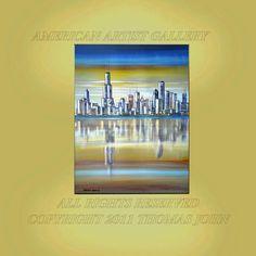 CHICAGO LAKEFRONT Large 40x30 Vertical Skyline Modern original Art By Thomas John