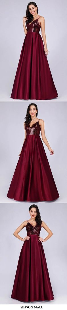 Deep V Neck Long Sleeveless Spaghetti Straps Burgundy Satin Evening Prom Dresses This dress could be custom made, there are no extra cost to do custom size and color Matric Dance Dresses, V Neck Prom Dresses, Cheap Prom Dresses, Dress Prom, A Line Evening Dress, Lace Evening Dresses, Elegant Dresses, Semi Formal Wear, Bright Dress