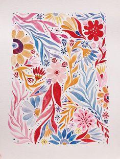 Original Watercolour Painting - A3- Colourful Bohemian Floral Folk Art (6/7)