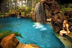 Stone Mason of Spring swimming pool and spa design and build. Custom design builder of pools, spas, waterfalls, landscapes pool backyard Swimming Pool Pond, Natural Swimming Ponds, Luxury Swimming Pools, Dream Pools, Swimming Pool Designs, Pool Spa, Backyard Pool Designs, Pool Landscaping, Pool Backyard