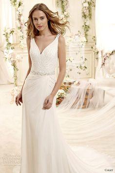 colet bridal 2015 style 75 coab15246iv v neck column sleeveless wedding dress