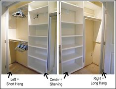 Closet design ideas (short and long hang spaces)