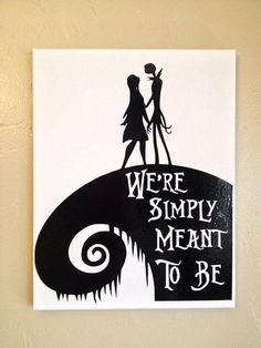 Jack and Sally Canvas by OneSleepyMomma on Etsy For Carmen Halloween Signs, Halloween Crafts, Halloween Decorations, Jack Y Sally, Nightmare Before Christmas Tattoo, Art Sur Toile, Wood Burning Patterns, Jack Skellington, Silhouette Projects