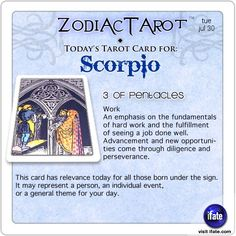 Daily tarot card for Scorpio from ZodiacTarot! Your free astrology birth chart is waiting for you.  Visit iFate.com today!