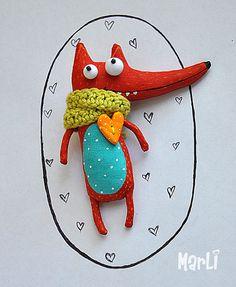 fox in love par MarLitoys sur Etsy