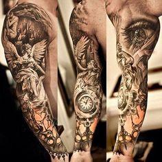 Angel tattoo for men   tatuajes | Spanish tatuajes  |tatuajes para mujeres | tatuajes para hombres  | diseños de tatuajes http://amzn.to/28PQlav