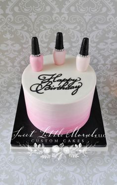 Pink Ombré Nail Polish Theme Birthday Cake - Cake by Stephanie