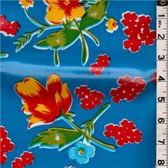 Blue Floral Oilcloth