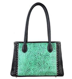 TR25-8394 Montana West Trinity Ranch Tooled Design Collection Handbag-Black - Handbags, Bling & More!