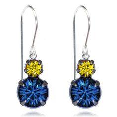 Navy & Yellow Two Tier Drop Earrings - $19.80