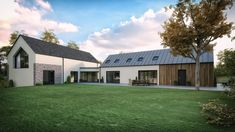 A modern house in Straffan, County Kildare to suit a (growing) young family. Residential architects slemish design studio work all over NI & RoI - Prefabricated House Modern Farmhouse Exterior, Farmhouse Design, Farmhouse Plans, Modern Bungalow House Design, Modern Design, House Designs Ireland, Self Build Houses, Bungalow Renovation, Rural House