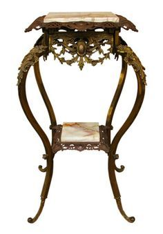 Antique Bronze & Marble Accent Table w/ Winged Angels Support New ...
