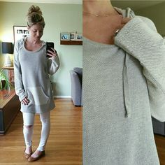 HPSoft Long Hoodie Brand New, Tags Attached. Size Large (modeling). This is nice and soft, lays well. I love the two tone! Perfect with skinny or leggings or in the print by itself! Price Firm.   73% Cotton 27% Polyester Tops Sweatshirts & Hoodies