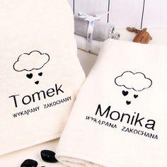 Komplet personalizowanych ręczników CHMURKI