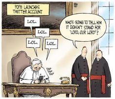 Toronto Star editorial cartoon for Dec. 4, 2012, by Theo Moudakis. #pope #religion #Twitter #Vatican #Catholic