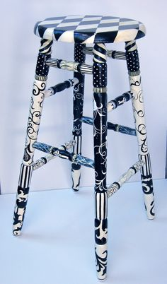 Hand Painted Pot of Jam Kitchen Stool in Black  by TrisArtistry, $450.00