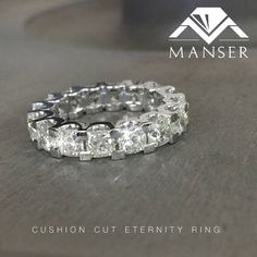 Full cushion cut diamond eternity ring. Over 6.5cts diamonds specially cut for this unique ring.