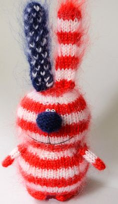 Freedom Bunny  Amigurumi Hand-Knitted American от MiracleStore