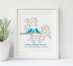Family Tree Cross Stitch Pattern Personalized Wedding gift Birds Love Home Sweet Home Modern PDF Pattern Counted Xstitch Easy by NikkiPattern on Etsy https://www.etsy.com/listing/486537007/family-tree-cross-stitch-pattern