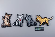 Gatitos, gatos, kittem, Kitty Cats perler beads, hama beads, bead sprites, nabbi fuse melty beads by PkmnMasterTash                                                                                                                                                                                 Más