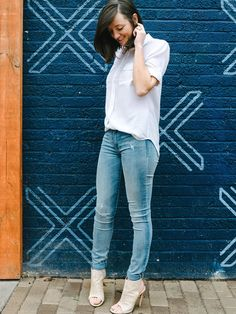 Spring calls for a new pair of jeans. Photographer Philip Edsel captures his wife in Gap's new resolution skinny jeans that she wears from work to dinner. Shop resolution denim in all washes and styles.