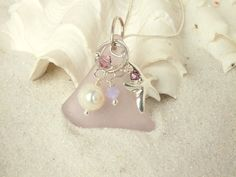 Sterling Silver Sea Glass RARE Lavender Necklace by beachglassshop, $48.00