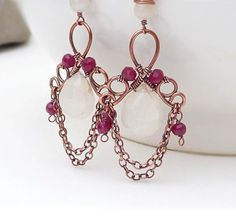 Pink moonstone earrings Antiqued copper by CreativityJewellery, $75.00