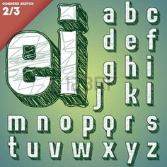 Sketch alphabet  Hand drawing font  Condensed style  photo