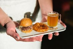 Real Wedding // Mini sliders paired with crisp onion rings and shots of beer in mini mugs