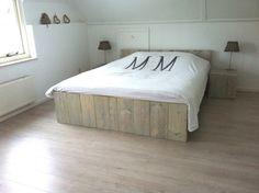 steigerhout bed white oil