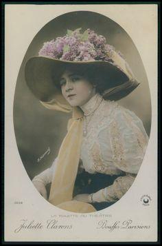 Juliette Clarens Bouffes Parisiens Edwardian Theatre dress 1910s photo postcard
