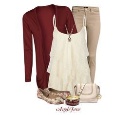 Cute fall outfit; dark red cardigan, cream colored ruffled tank, colored jeans, and floral shoes. The ruffle tank is really cute. Great outfit!