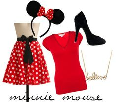 For Minnie Mouse, all you really need is the ears, which you can purchase on Amazon. While we've used a Modcloth skirt and simple red t-shirt for the costume, you can really wear any red dress you have, especially if it has white polka dots! Add black pumps and a simple necklace to top off your look.