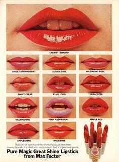 rouge a lèvre Max Factor 1974 1970s Makeup, Vintage Makeup Ads, Retro Makeup, Vintage Beauty, Vintage Ads, Vintage Labels, Vintage Glamour, Vintage Items, Patti Hansen