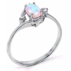 Silver opal promise ring