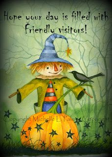 Michelle Palmer watercolor scarecrow harvest visit