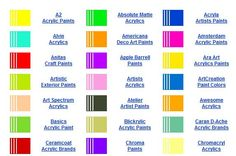 Acrylic paint colors by brand