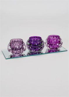 Set Of 3 Glass Tealight Holders (26cm x 10cm)