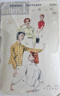 Butterick 7885  Women 50s Front Button Shirt by Denisecraft, $7.99