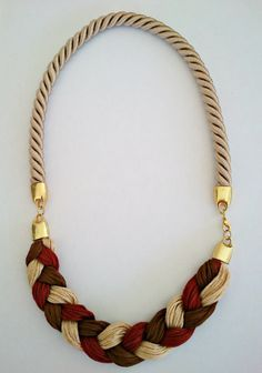 Statement Rope Necklace with plait in brown, beige, brick red tones and beige cotton cord. 22 euro