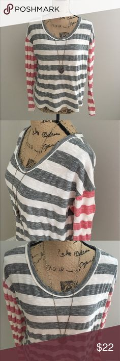 Urban Outfitters Mouchette long sleeve striped tee Samantha says... • brand: Urban Outfitters Mouchette • size: large • long sleeved tee  • striped in red, cream, and gray/black  • lightweight  • necklace not included   Measurements: • please ask 😄  #urbanoutfitters #uo #mouchette #large #sizelarge #sizel #red #cream #gray #black #horizontalstripe #stripe #stripes #striped #tee #teeshirt #tshirt #longsleeve #longsleevetee #spring #summer #fall #samtalee613 Urban Outfitters Tops Tees - Long…
