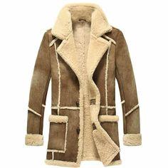 Men Brown Australian Lambskin Leather Fur Single Breasted Dress Coats SKU-116147
