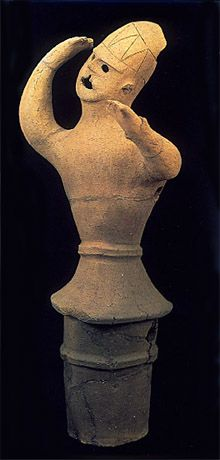 The Kofun period (AD.250-AD.592) Haniwa terracotta clay figure. dancing man. Gunma Japan.