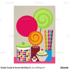 Bright Candy & Sweets Birthday Party Invitation