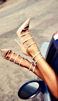 Love the straps...nude high heel shoes