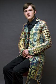 """Shae Bishop """"Coat"""" 2011 Porcelain, underglaze, glaze, gold luster, cotton string, canvas"""