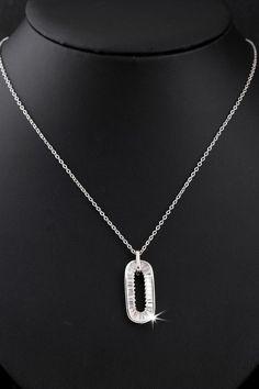 45cm Stylish Zircon Crystal Inlay Pendant Platinum Plated Copper Necklace