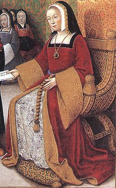 Tudor style gown - Detail of Anne of Brittany and her court Poetic Epistle of Anne of Brittany and Louis XII. Illuminated by Bourdichon. F. 1v: Illustration to Epistle 3. Early 16th century